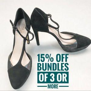 Vince Camuto velvet strappy stiletto black heels